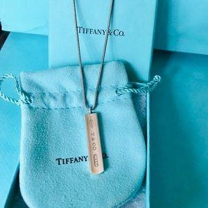 Tiffany & Co. Silver 1837 Ingot Bar on Snake Chain